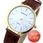爆款!新款简约休闲男女手表 超薄两针金壳咖啡色皮带手表批发价